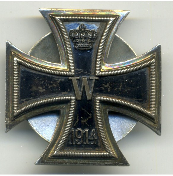 WW1 Iron Cross 1st class by Albert Werner und Söhne (AWS), screwback silver 925!