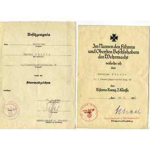 Award document group to G. Wöhrle, Pz Jäger Abt 90, 10. Pz Division, Tunis, Africa 1943!