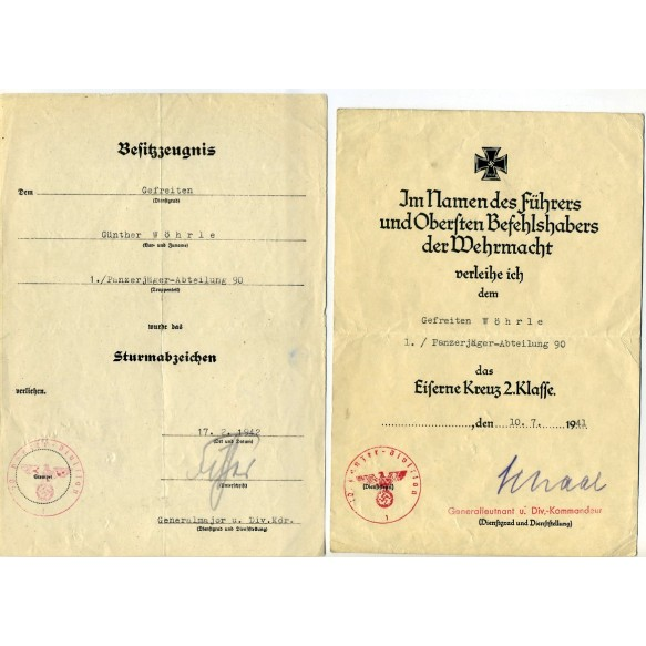 Award document group to G. Wöhrle, Pz Jäger Abt 90, 10. Pz Division, Tunis, Africa 1943!