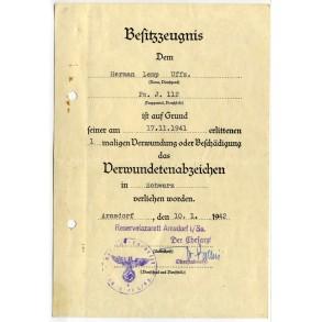 Wound Badge in Black award document to H. Lemp, Pz. Jäger 112