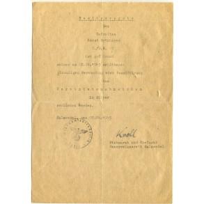 Wound Badge in Silver award document to Gefr. H. Grünhagen, April 1945 Salzwedel