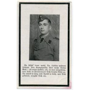 Death card to SS-Sturmmann J. Adams, Funker in an SS Panzer Regiment. KIA 1944 Tarnopol