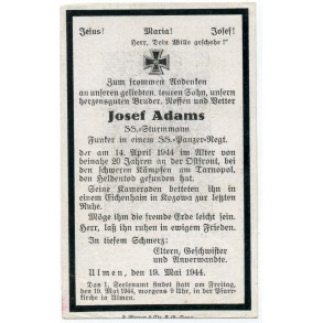 Death card to SS-Sturmmann J. Adams, Funker in an SS Panzer Regiment. KIA 1944 Tarnopol
