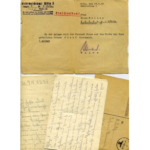 Wehrpass (lot) to J. Hammes, member of Schw. Schützen Rgt 63, KIA Pogost 1942