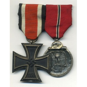 Medal bar Iron Cross 2nd class and East front medal