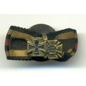 WW1 Ribbon button Iron Cross 2nd class + 14-18 Honour Cross