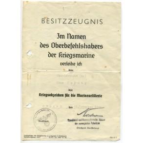 Kriegsmarine Coastal Artillerie Badge award document to OLt H. Kaynig, Tromsö, Norway 1944!