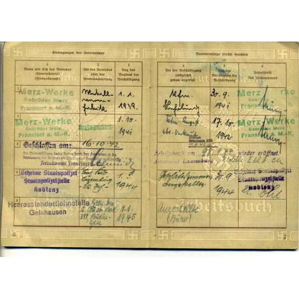 Arbeitsbuch Gestapo employee H. Etz, Gestapo Stelle Koblenz-Luxemburg  + photo