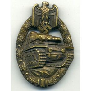 Panzer Assault Badge in bronze by Schauerte & Höhfeld