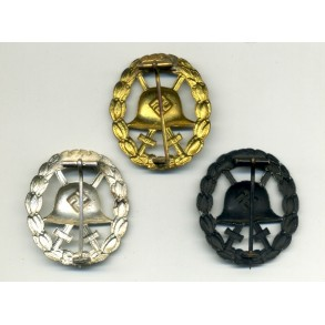 1st pattern wound badge set by O. Schickle, cut out, all 3 grades!!