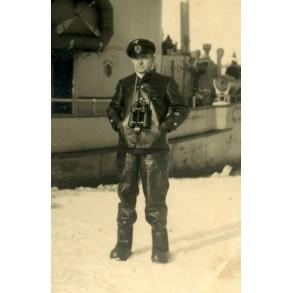 Private snapshot kriegsmarine captain with ship on ice