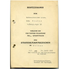 Anti-partisan badge in silver award document to O. Winter, Pol Rgt 15, Italy 1945 UNAWARDED