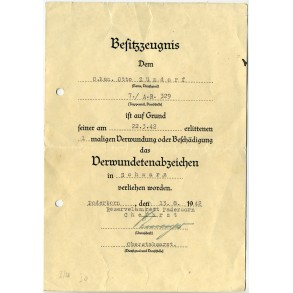 Wound Badge in Black award document to O. Kan. O. Zündorf, AR329