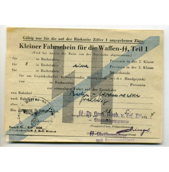 """Waffen SS """"Fahrschein"""" to LSSAH member SS-Rottenführer Wilhelm Dahm"""