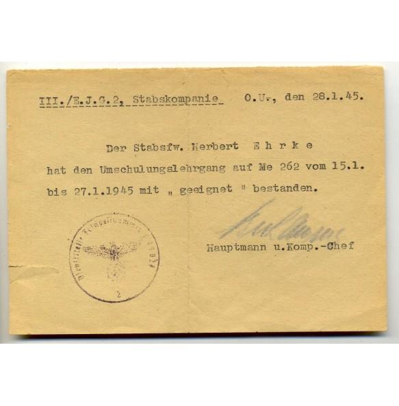 Me 262 retraining document; Ergänzungsjagdgeschwader 2 (EJG2) 1945