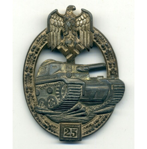 Panzer assault badge in silver 25 assaults by J. Feix