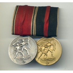 Medal bar with 1st Oct and 13 March annexation medals