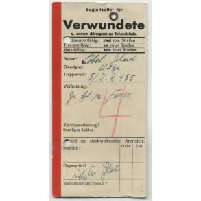 Wounded transport card to G. Löbel, IR 455, grenade shrapnel