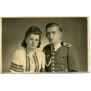 Portrait photo with panzer assault badge in bronze 1943