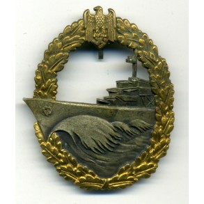 "Kriegsmarine Destroyer Badge by Gebr. Wgerhoff ""GWL"""