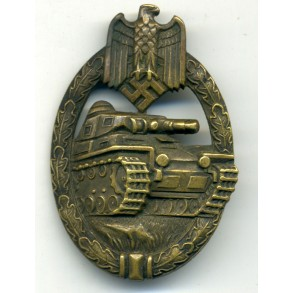 "Panzer Assault Badge in bronze by K. Wurster ""small w"""