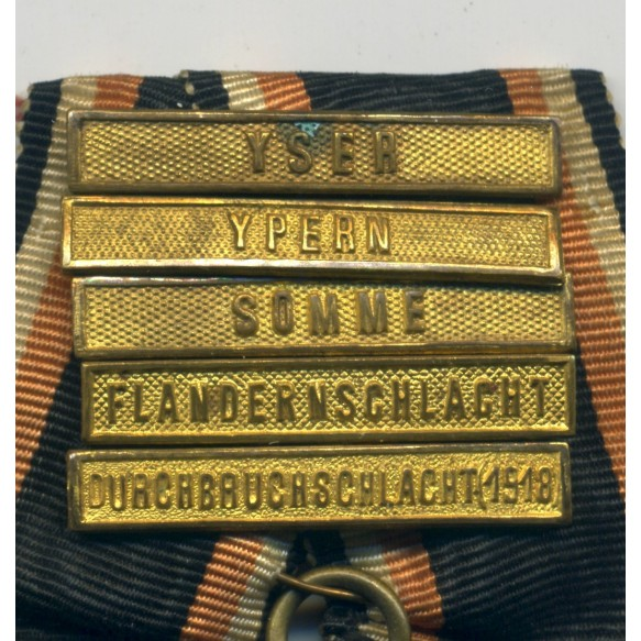 "WW1 German ""Flandernkreuz"" + 5 campaign bars"