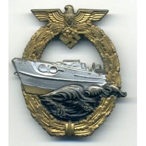 Kriegsmarine S-Boat badge by AS in triangle, Gablonz