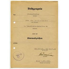 General Assault Badge award document to O. Fastermann, B.Pi.Bat. 80
