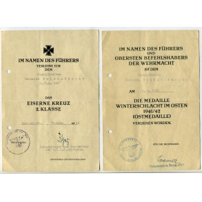 Two award documents to O.Gefr. H; Weizenbürger, 126. ID. Pleskau 1944