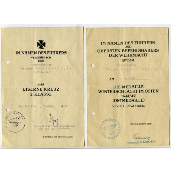 Two award documents to O.Gefr. H; Weizenbürger, 126. ID. Pleskau 1944