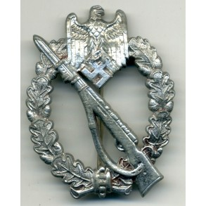 "Infantry Assault Badge in silver ""pillow crimp"", chrome."