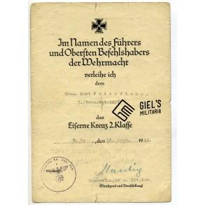 Iron cross 2nd class award document to Gren. K. Friedrichs, GR1037. Calais, Belgium 1944!!!