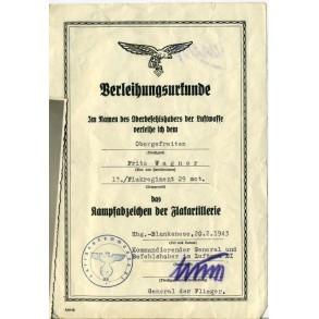 Flak group to Obergefr. F. Wagner; Flakreg. 29 mot., Hamburg/Blankenese 1943