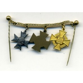 Miniature chain with 40 year civil service award and Merit Cross for War Aid