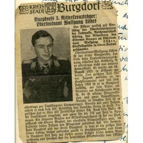 "Paper group W. Lührs, Knights cross winner 2./KG 53 ""Legion Condor"", JG108 Vienna 1945"