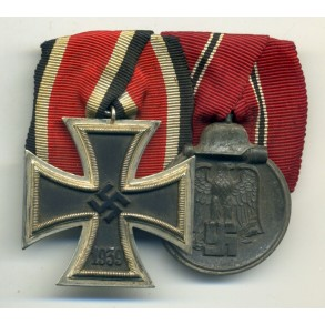 2 place medal bar with Iron Cross and Eastfront medal