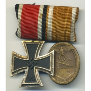 2 place medal bar with Iron Cross and Westwall medal.
