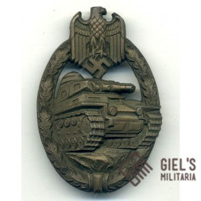 Panzer Assault Badge in bronze by W. Deumer, copper coated!