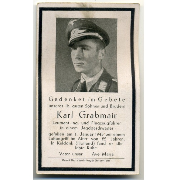 Death card to fighter pilot K. Grabmair, JG6, KIA Holland 1945